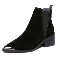 Suedette Stretch Side Pointed Ankle Boots
