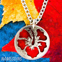 Hibiscus Flower Necklace, Hawaiian Jewelry, hand cut coin