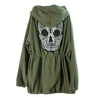 Skull Goth Green Army Jacket