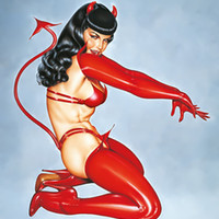 Bettie Page Poster Flag Red Devil Tapestry