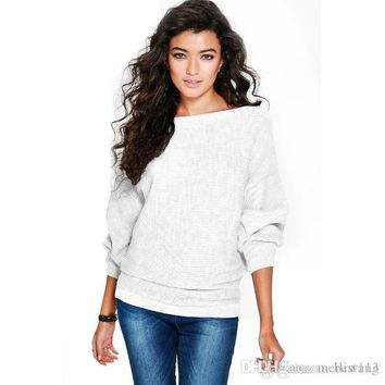 New hot sale fashion Womens winter autumn Batwing Sleeve Knitted Pullover Loose Sweater Jumper Tops Knitwear