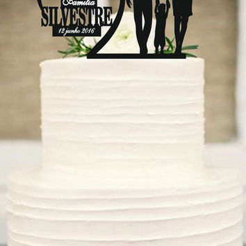 Bride and Groom little boys family wedding cake topper,unique wedding cake topper,Silhouette Wedding Cake Topper,Anniversary Cake Topper