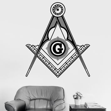 Vinyl Wall Decal Masonic Symbol Freemasonry Square And Compasses Stickers Unique Gift (1814ig)