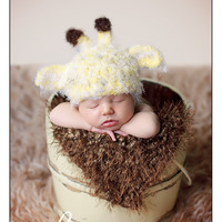 Giraffe Newborn Baby Hat, Baby Photo prop