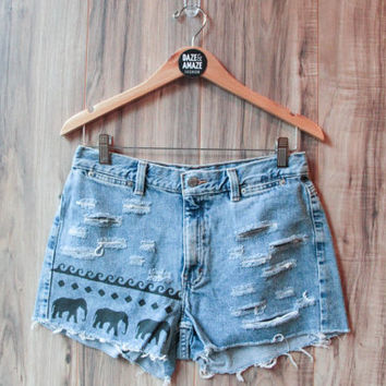 Elephant Denim Shorts, Vintage Distressed High Waist Cut Off Painted Aztec Tribal