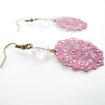 Pink Filigree Medallion Earrings