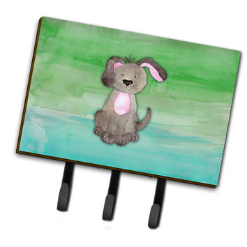 Dog Teal and Green Watercolor Leash or Key Holder BB7357TH68