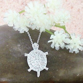Sparkling Turtle Necklace with Crystals
