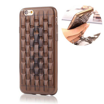 2015 hot selling Fashion 3D Waves Style TPU Phone Case Cover Skin with Invisible Finger Strap Grip for iPhone 6 4.7 Inch
