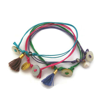 Cord Friendship Bracelets with Charms Set of 2, Cosmic Selection