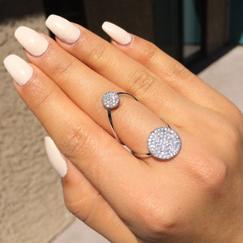 TALIANA // 18 Karat Rose Gold & White Gold Floating Double Disk Circle Round Ring