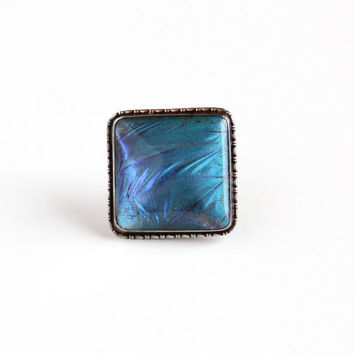 Vintage Sterling Silver Blue Morpho Butterfly Wing English Brooch Pin - Art Deco 1920s Statement Teal Violet Iridescent Jewelry from England