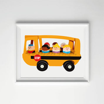 School Bus Print - Children's Wall Art INSTANT DOWNLOAD Nursery Art, Art for Boys Room, Downloadable Print, Baby Boy Gift, Retro Toy Vehicle