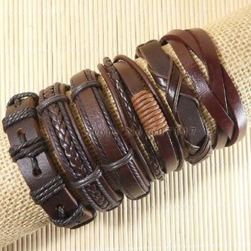 Leather bracelet - Bundle Package - includes 6 hand made leather bracelets all together in one package... Nice package Dude!