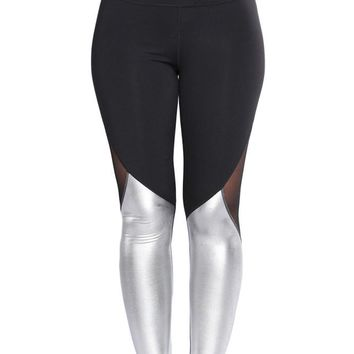 Mode Silver Metallic Bottom Detail Active Stretch Legging
