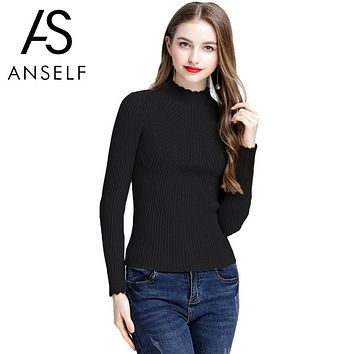 ANSELF 2018 Autumn Winter Fashion Sweater Women Long Sleeve Ruffled Turtleneck Knitted Sweaters Basic Pullover Slim Fit Knitwear