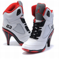 nike jordan v high heels white black red ladies boots