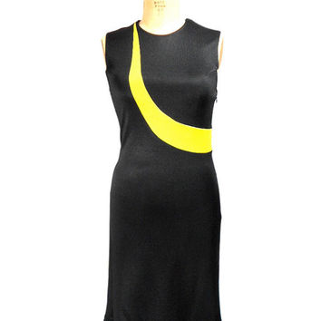 1990s Gianni Versace Couture Dress - Sleeveless Wiggle Dress - Black Blue Yellow Form Fitting - Party Dress - Size Small