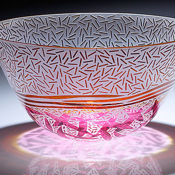 Cranberry and Gold Rice with Leaves  by Jim   Renee Engebretson: Art Glass Bowl - Artful Home