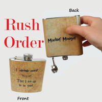 Rush Order - Stainless Steel Hip Flask  - I solemnly swear that I am up to no good -  Mischief Managed -  Harry Potter marauders 4oz 6oz 2oz