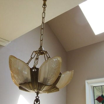 Art Deco 1930's Lincoln Fleurette 5 Light Slip Shade Chandelier, Restored, Rewired, Ready to Hang