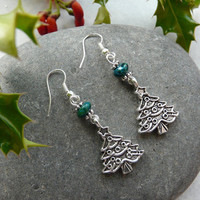 Earrings Christmas Tree Chrysocolla Free Worldwide Shipping