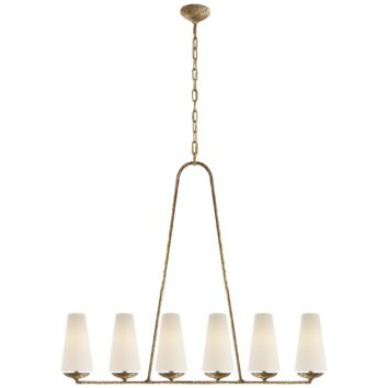 AERIN Fontaine Linear Chandelier in Gilded Plaster with Linen Shades