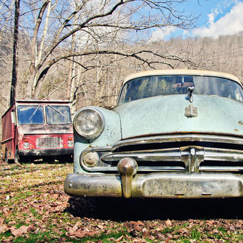 Dodge Meadowlark Photo - Grungy Old Car Art Photography - Garage Art
