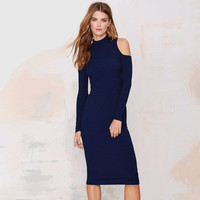 Autumn Winter Knit Slim Off-shoulder Dress a13279