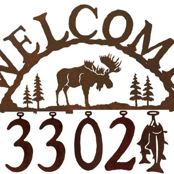 Moose Handcrafted Metal Welcome Address Sign - Rustic Lodge Series