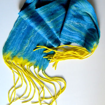"Felted scarves Wool scarf Wet felted scarf Blue Long scarf Unisex scarves handmade double-sided scarf winter scarf 100""/12"" with tassels"