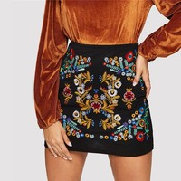 Black Botanical Embroidered Textured Skirt Casual Zipper Night Out Mini Skirts Women Elegant Workwear Skirt