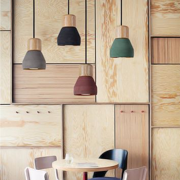 4 Color Brief Loft Nordic Style Wood Cement Pendant Lights