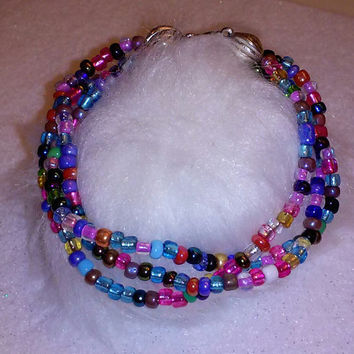 Twisted Colors Triple Strand Bracelet, strand of multi-colored seed beads bracelet