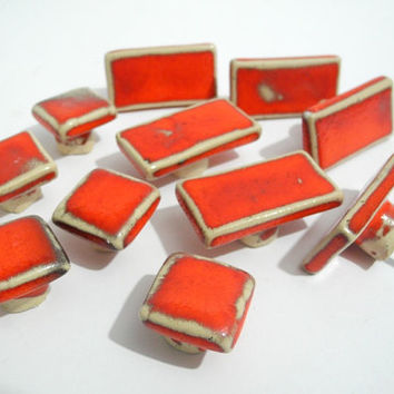 Door knobs, Ceramic Cabinet Door Pulls Drawer Knobs, Red Rectangular Door Hardware, Handmade Pottery