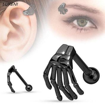 ac PEAPO2Q 1Pcs/set Hot Steel Punk Style Ghost Claws Eyebrow Rings Stainless Steel Skeleton Hand Belly Tragus Body Piercing Jewelry