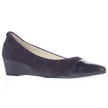 Anne Klein Valicity Toe Cap Wedge Pumps - Navy/Navy