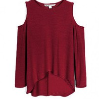 Red High Low Pullovers with Cold Shoulder