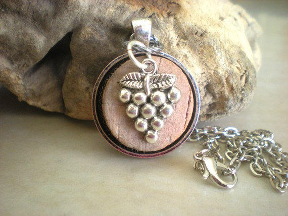 wine cork necklace grapes cork jewelry from