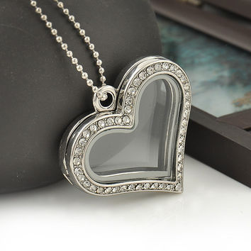 Fashion Heart Magnetic Glass Floating Locket Memory Necklaces & Pendants Charm Chain Necklace Jewelry Accessories Free Shipping