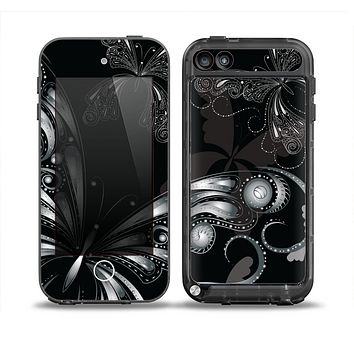 The Vibrant Black & Silver Butterfly Outline Skin for the iPod Touch 5th Generation frē LifeProof Case