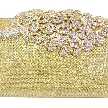 Wedding Cocktail Clutch Purse Mesh Rhinestone Peacock