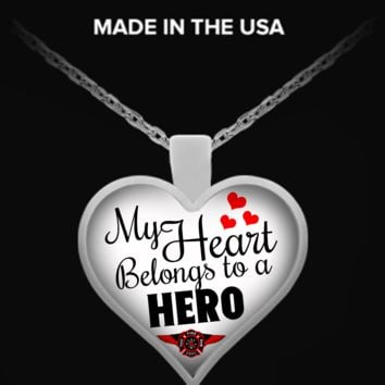 My Heart Belongs To A Firefighter Hero Necklace necklacefirefighterhero
