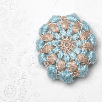 Crochet Covered Stone, Valentine's Day, Lace Stone, Paperweight, Home Decor, Beach Wedding,  Fiber Art Object, Blue and Beige