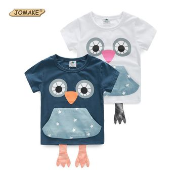Boys Girls Cartoon Owl T-shirts 2015 Summer Style New Children's Clothing Unisex T shirt Kid Clothes Baby Casual Cotton T-shirts