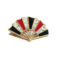 Signed Monet Red & Black Enamel Fan Brooch with Clear Rhinestones Vintage