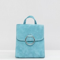 ASOS Suede Mini Backpack With Ring at asos.com