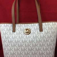 New Michael Kors MK Jet Set Travel Tote Bag Handbag Purse MD PVC Vanilla