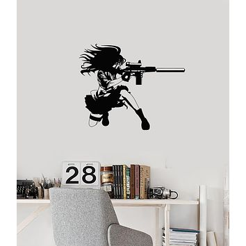 Vinyl Wall Decal Anime Manga Girl with Gun Military Art Teen Room Stickers Mural (ig6043)