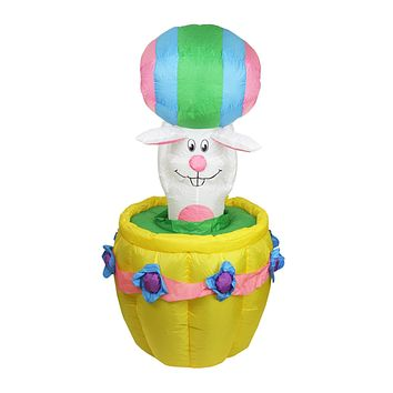 5.5' Inflatable Animated Easter Bunny Basket Lighted Outdoor Decoration